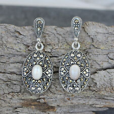 Sterling Silver Vintage Style Marcasite & Mother of Pearl Drop Earrings RRP $200