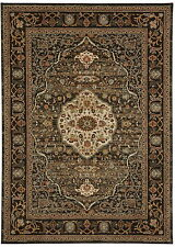 8' x 11' Karastan Machine Woven Area Rug Petra Charcoal Taupe Gold Cream