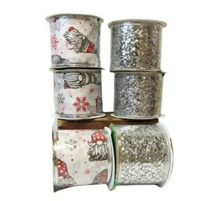 """Lot Of 6 Christmas 2.5"""" x 9 FT Craft Bow Ribbon Red White Gnome Silver Glitter"""