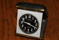 Europa Travel Alarm clock 2 jewels Germany white & black face Vintage clam shell