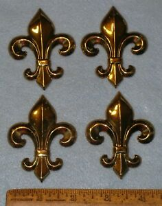 "4 Vintage Stamped Brass 2.5"" FLEUR DE LIS * NOS New Old Stock * MC LILLEY"