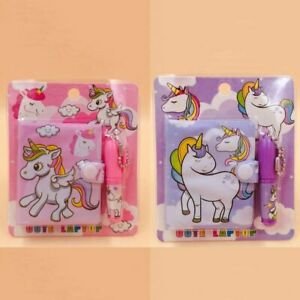 Girls Unicorn Diary Mini Notebook and Pen Set New Free Ship Cute