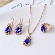 Women Crystal Rhinestone Blue Necklace Earrings Ring Wedding Party Jewelry Sets
