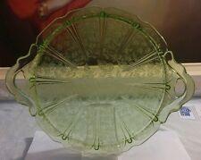 Jeannette Cherry Blossom Green Depression Glass Handled Serving Plate Platter