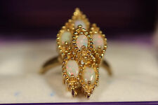 HEAVY WIDE 14K YELLOW GOLD 2.10CT AUSTRALIAN OPAL FIRE OPAL  RING 14KT 6.5 5.67G