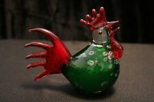 Murano Italian Art Glass - GREEN ROOSTER with RED TAIL  - One of a Kind Design