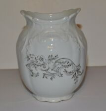 Antique H.P. Co Stone China Small Urn Vase with Black Flower Imprint c1890s