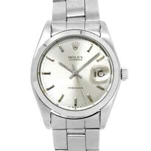 ROLEX Oyster Date Precision 6694 Hand Winding Silver Dial Mens Watch 90128565