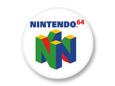 "Pin Button Badge Ø25mm 1"" Logo Console Retro Gaming Nintendo 64"