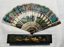 ANTIQUE CHINA CHINESE HANDFAN BRISE FAN MANDARIN  1000 FACES LACQUER