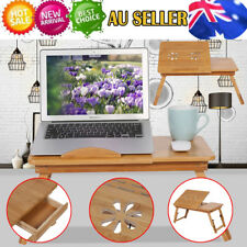 Multi Function Bamboo Laptop Bed Desk Table Foldable Cooling Hole Holder Tray