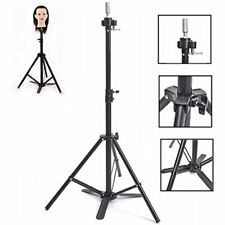 Wig Stand Tripod With Foot Pedal Adjustable Hair Mannequin Head Metal Fixing For