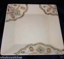 """PIER 1 NISA SQUARE PLATTER 10 3/8"""" CREAM WITH HAND PAINTED MULTI-COLOR DESIGN"""