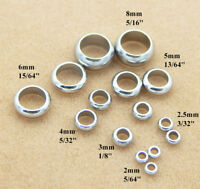 Stainless Steel Silver Donut Spacer Bead Loose Large Hole Round Cord 2 3 4 6 8mm