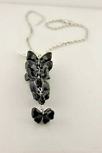 Lalique Papillon 5 Butterfly Crystal Black Fleur Sterling Lariat Necklace NEW