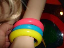 Vtg MOD 1980's 3 Lucite stackable bangle bracelet Pink Blue Yellow Punk Costume