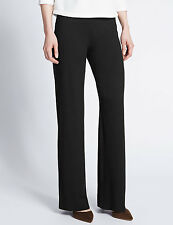 Marks and Spencer Wide Leg Pull On Elasticated Waist Trousers Black Dark Navy