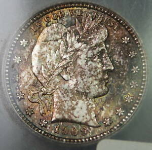 1909 Barber Silver Quarter, ICG MS-62, Toned Coin
