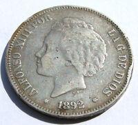 5 PTAS PESETAS 1892 900 SILBER SILVER PLATA MÜNZE SPANIEN ALFONSO XIII POR LA G.