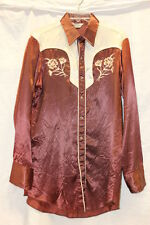 MWG Western's Best VINTAGE Mens Pearl Snap Silk Shirt Brown Cream Winnipeg 0363