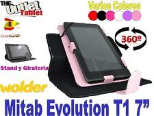 "FUNDA GIRATORIA  PARA TABLET WOLDER MITAB EVOLUTION T1 7"" BARATA STAND LIBRO"