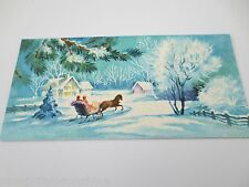 # I980- Vintage Mid Century Glitter Winter Sleigh Ride Christmas Greeting Card
