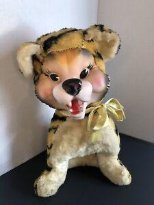 Vintage My Toy Plush Smiling Teeth Tiger Rubber Face Stuffed Plush Rushton Like