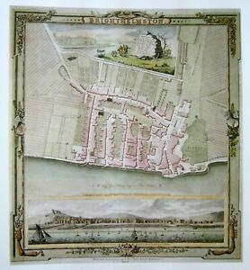 MAP OF BRIGHTHELMSTON 1779 'BRIGHTON'  SUSSEX MAGNIFICENT HARDBACK MAP