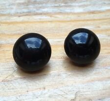 Vintage Glass Clip On Earrings/Round Button Style/Black/Retro 60's Look/Mod