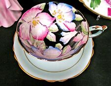 PARAGON TEA CUP AND SAUCER BLUE  & PAINTED FLOWERED CHINTZ TEACUP PATTERN