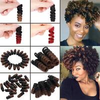 "2"" Jamaican Bounce Real Short Highly Elastic Crochet Hair Extensions Burgundy lk"
