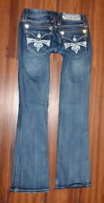 WOMENS ROCK REVIVAL SORA BOOTCUT DISTRESSED STYLE DARK STRETCH JEANS SIZE 28X31