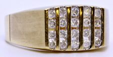 Men's 14K Solid Yellow Gold Satin Finish Channel Round Diamond Signet Ring 10.5