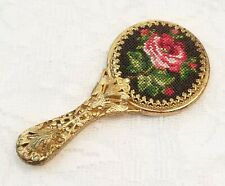Vintage Hand Mirror Miniature Doll Purse Petit Point Needlepoint Flower Filigree
