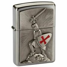 Zippo 1300103 Crusade Victory Emblem Windproof Pocket Lighter Brushed Chrome