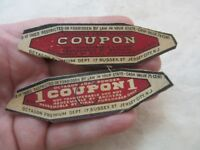2 Vintage Octagon Soap Powder Coupons ephemera advertising