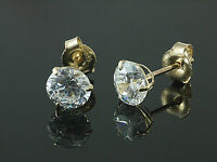 333 Gold Ohrstecker gestempelt 1 Paar 5 mm Zirkonia mit 3 Krappen