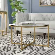 Glass Coffee Table Furniture Living Room Vintage Modern Round Gold Metal Frame
