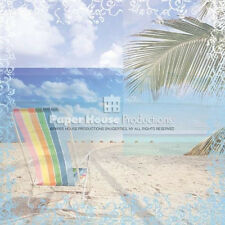 "12"" Scrapbook Paper House 15p Beach Chair Vacation Ocean Shore Island Sand Sun"