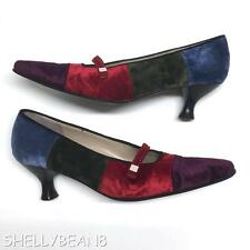 SALVATORE FERRAGAMO Color Block VELVET MARY JANES Kitten Heels Pumps Shoes 5