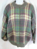 Vintage Size M Fuzzy Plaid Mohair Blend Full Zip Cardigan Sweater Lord Isaacs