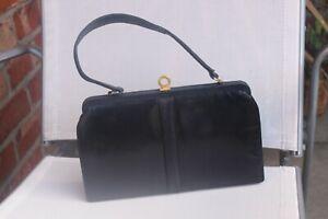 VINTAGE 1940-50 MAPPIN & WEBB LIZARD SKIN HAND BAG KELLY BAG NAVY BLUE+MIRROR VG