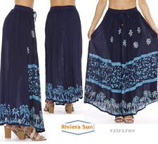 Women's Plus Size Long Maxi Ankle Lenght Boho Skirt,2X,Navy / Light Blue