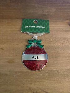 AVA Personalized Collectible Ornament by GANZ Red Glitter Christmas Ball