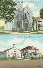 Arcade/East Arcade Ny Catholic Churches 1949 Postcard