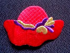 IRON ON PATCH APPLIQUE - red HAT WITH GOLD and purple ribbon