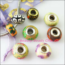 15Pcs Mixed Polymer Fimo Clay Round Spacer Beads Fit European Bracelet 14mm