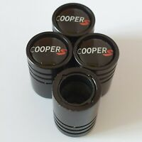 COOPER S Matte Black valve Tyre Dust Caps Plastic Inside all models Non Stick