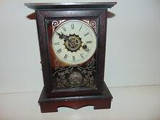 Vintage Antique Seth Thomas Mirror Glass Door Clock Mantle Key Wind RARE **