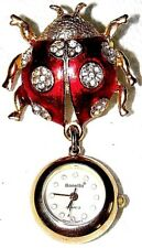 VINTAGE GOLD TONE ENAMEL CRYSTAL LADY BUG PIN BROOCH DANGLE WATCH~SIGNED:BONETTO